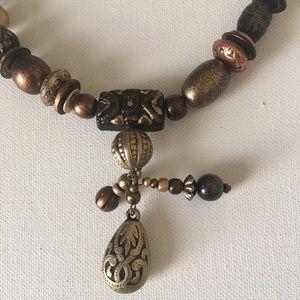 Jewelry - Brown Beaded Necklace Boho Peasant Hippie Gypsy